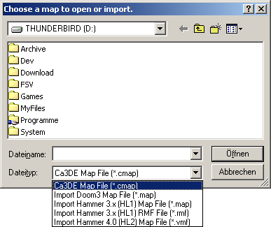 "The ""File Open"" dialog also imports maps from other games and editors."